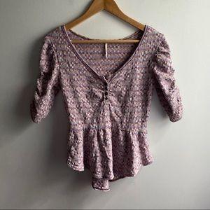Free People purple checkered princess sleeve top